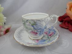 1950s Vintage Bell English Bone China Orchids English Teacup and Saucer set