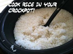 How to cook rice in the crockpot.  I think I will make a few batches and freeze some for quick dinners.