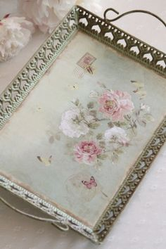 Beautiful Tray in Soft Pastels~❥ Chabby Chic, Shabby Chic Pink, Vintage Shabby Chic, Shabby Chic Style, Shabby Chic Decor, Shabby Chic Farmhouse, Shabby Chic Cottage, Shabby Chic Homes, Rose Decor