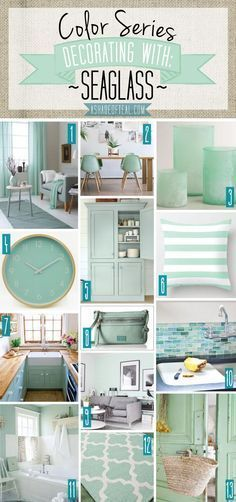 decor home Color Series; Decorating with Seaglass. Seaglass, mint, green, aqua home decor. Beach House Decor, Diy Home Decor, Coral Bathroom Decor, Bathroom Colors, Teal Kitchen Decor, Kitchen Colors, Kitchen Dining, Kitchen Island, Diy Casa