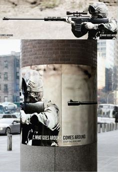 about war poster strap pole advertising what goes around comes around soldier