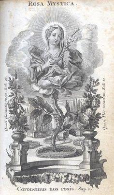 Antigua Estampa, Ilustración de Rosa Mística en las Letanías Lauretanas, Icono La Flor Inmarcesible - MARIA ROSA MYSTICA www.rosamystica.jimdo.com