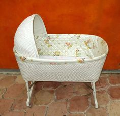 Vintage 1950s 1960s White Wicker Baby Bassinet W/ Hood & Wheels. Cute Kitsch…