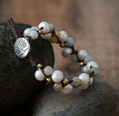 Handmade Natural Freshwater Pearl & Amazonite Stone Leather Wrap Bracelet- Free Spirit Shop