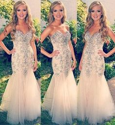 Trumpet/Mermaid Sweetheart Tulle Floor-length Beading Prom Dresses #02018804
