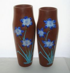 Magnificent ARTS CRAFTS style POTTERY VASE PAIR Exquisite BLUE Enamel FLOWERS