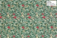 William Morris reproduction wallpaper: Arbutus designed by Kathleen Kersey in 1913. Dark green, green brown reds on cram. $189 per 33' (double) roll.