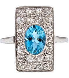Classic art deco plaque ring with aquamarine & pave diamonds