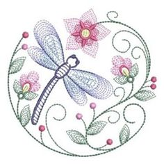 Rippled Dragonfly Circle embroidery design from embroiderydesigns. The Effective Pictures We Offer You About embroidery backpack A quality picture can tell you many things. You can find the most bea Hand Embroidery Flowers, Paper Embroidery, Modern Embroidery, Hand Embroidery Patterns, Custom Embroidery, Embroidery Applique, Beaded Embroidery, Cross Stitch Embroidery, Machine Embroidery Designs