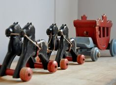Vintage Wooden Toy - Horse-drawn Carriage