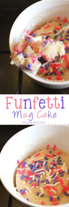 You are exactly 1 minute and 20 seconds away from this yummy Funfetti Mug Cake! Funfetti Mug Cake www. Köstliche Desserts, Healthy Desserts, Delicious Desserts, Yummy Food, Microwave Desserts, Microwave Food, Diabetic Snacks, Fun Food, Mug Recipes