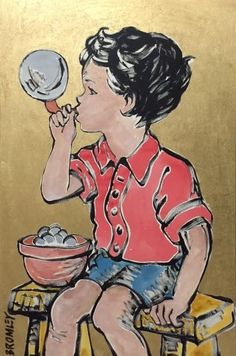 DAVID BROMLEY Children Series Blowing Bubbles Polymer Painting 119cm x 79cm