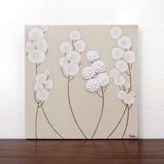 Acrylic Painting - Neutral Art on Small Square Canvas - Brown and White Textured Flower Painting - - IN STOCK Home Decor Paintings, Small Paintings, Original Paintings, Abstract Paintings, Original Art, Acrylic Painting Flowers, Acrylic Painting Canvas, Canvas Wall Art, Textured Canvas Art