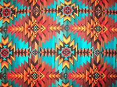 Teal Tans Brown Navajo Native American Tradtional by scizzors, $2.99