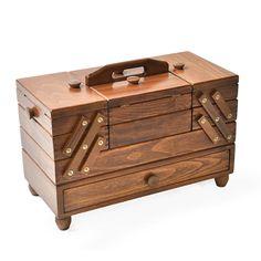Caixa de costura com gaveta 2 - Madeira maciça - castanho