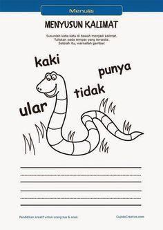 belajar membaca & menulis anak TK/SD, menyusun kata menjadi kalimat & mewarnai gambar ular