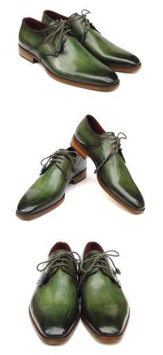 Paul Parkman Green HandPainted Derby Shoes Derby Shoes, Natural Leather, Leather Shoes, Oxford Shoes, Hand Painted, Green, Fashion, Zapatos, Leather Dress Shoes