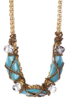 Turquoise Stone Wrapped Crystal Statement Necklace