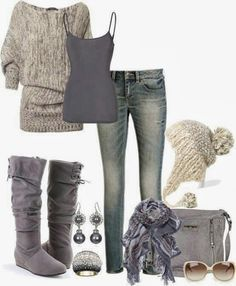 Adorable winter outfits cute slouchy sweater, knitted hat