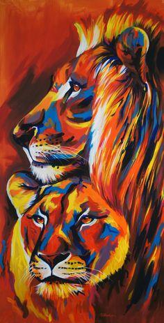 'Comfortable' 50 x Acrylic on canvas Big Cats Art, Cat Art, Lion Painting, Acrylic Painting Animals, Watercolor Lion, Lion Wallpaper, Lion Art, Colorful Animals, Arte Pop