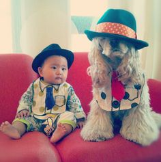When they're awake they like to make fun of hipsters. | Truly Adorable Pictures Of A Baby And A Cocker Spaniel That Are BFFs