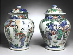 A 'Famille-verte' baluster jar and cover, Qing Dynasty, Kangxi Period - Alain. Chinese Figurines, Bridal Chuda, Chinese Ceramics, Antique Lamps, Qing Dynasty, Ginger Jars, Chinese Art, Ceramic Art, White Ceramics
