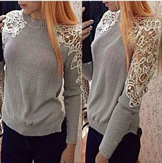 Lace Splicing Scoop Pullover Knit Solid Sweater