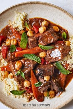 While a classic beef stew may be too hearty for spring, this lightened up version packed with chickpeas, carrots, red bell pepper, and berbere seasoning (an Ethiopian spice blend made from ginger, cinnamon, turmeric, and cardamom) is just right. #marthastewart #recipes #recipeideas #easterfood #easterrecipes #eastertreats #easterideas Classic Beef Stew, Easter Dinner Recipes, Dutch Oven Recipes, Braised Beef, Meals For The Week, One Pot Meals, Pasta Dishes, Crockpot Recipes, Entrees