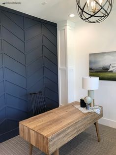 Decorative wall panels are a fun way to add texture, balance, and visual interest to a space. There are so many different options for dressing up walls. Textured Wall Panels, Decorative Wall Panels, Faux Panel Wall, 3d Wall Panels, Faux Wood Wall, Faux Walls, Herringbone Wall, Herringbone Pattern, Navy Accent Walls