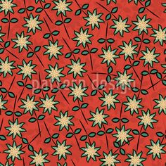 Sweet Star Flowers by Anny Cecilia Walter available as a vector file on patterndesigns.com Flower Ornaments, Star Flower, Round Tablecloth, Vector Pattern, Table Linens, Surface Design, Home And Garden, Pure Products, Quilts