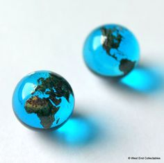 "Pair of 12mm (0.5"") Blue Glass Earth Globe Marbles - Earring Jewellery Stone / Pendants"