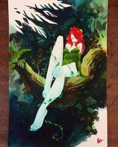 Drawing Dc Comics Poison Ivy painting, watercolor acrylic on bristol. Poison Ivy Cartoon, Dc Poison Ivy, Poison Ivy Dc Comics, Poison Ivy Comic, Dc Comics Art, Batman Comics, Gotham City, Character Drawing, Comic Character