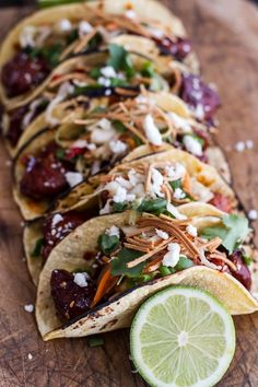 Korean Fried Chicken Tacos With Sweet Slaw, Crunchy Noodles Queso Fresco #recipe #fusion