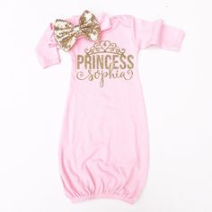 Princess Personalized Baby Gown | Pink