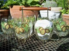 Vintage Glassware Carrier Tropical Coconut Palm Trees Mint