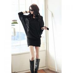 Elegant Round Neck Solid Color Batwing Sleeve Loose Fit Over Hip Women's Dress