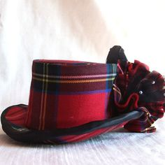 plaid hat with crow in bow #millinery #judithm #hats