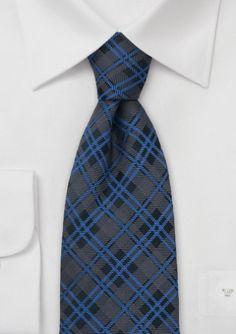 Tartan Patterned Tie in Brown and Blue