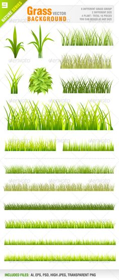 Grass Background Set #GraphicRiver Vector set of grass background. 6 Different grass group. 2 Different size. 4 plants. Total 16 Pieces. Vector illustrations. You can resize at any size. Ai, eps, psd, transparent png and jpeg files included in the zip file. Each grass group included in different layer for ai, eps and psd documents. You can see other nature design elements from my portfolio. Please, dont forget to rate my vectors! Thank you NATURE Created: 20March13 GraphicsFilesIncluded…