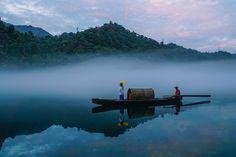 Foggy in Xiao Dongjiang Lake, Hunan, China by Anna King / 500px
