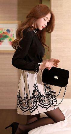 StyleOnme_Velvet Pattern Flare Skirt #skirt #velvet #flare