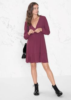 & Other Stories image 2 of Wrap Neck Dress in Plum