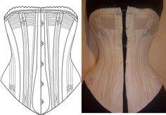 Ref P Patronage papier de corset ancien cordée - patron couture - Atelier Sylphe Corsets - Fait Maison