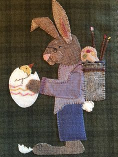 Wool applique pattern of Peter and Peep