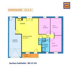 plan de maison plain pied 3 chambres 90m2