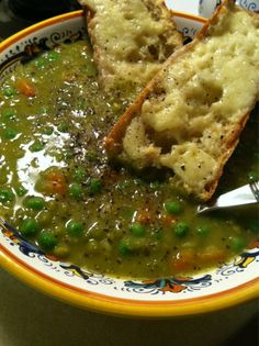 Split pea soup with fresh peas and carrots  #vegetables #soup