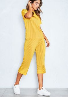 de15b6905d76 Antonia Mustard Pleated Top and Culotte Co-Ord