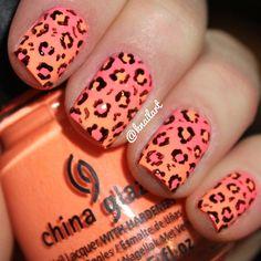 Gradient Cheetah Print #knailart