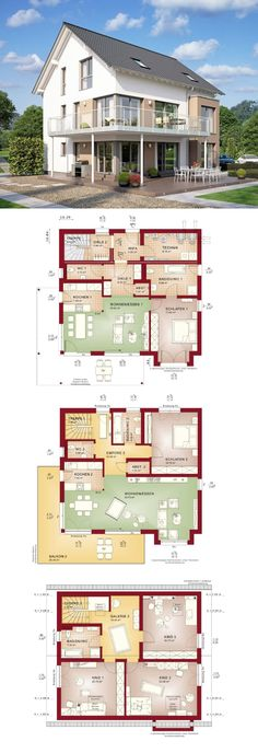 Zweifamilienhaus mit Satteldach und Übereck-Balkon - Grundriss Haus Celebration 275 V3 Bien Zenker Fertighaus - HausbauDirekt.de