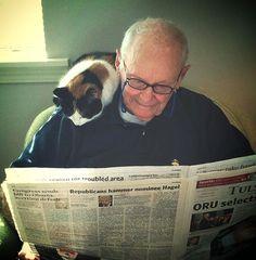 Dos mejores amigos que leen el periódico juntos todas las mañanas. | 38 fotos que prueban que los gatos tienen un corazón de oro